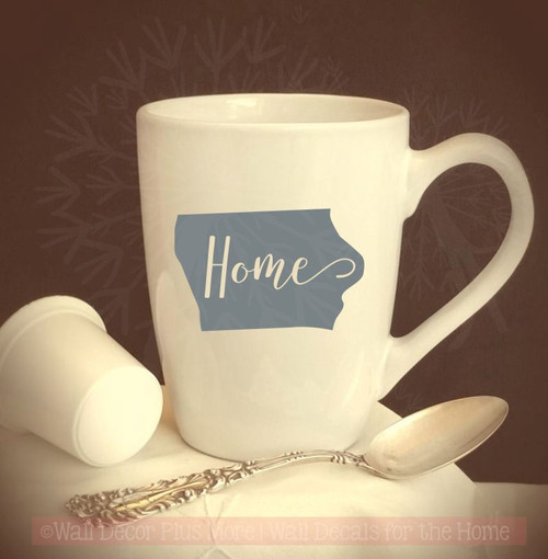 Home State Silhouette Mug Tumbler Decals Vinyl Lettering Rtic Yeti Sticker Art Silver