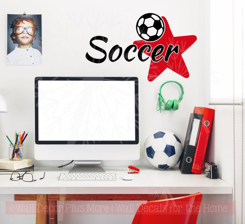Soccer with Star Vinyl Lettering Sports Decals Wall Stickers Teen Bedroom Decor-Black, Cherry Red