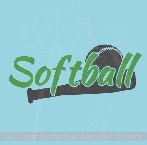 Softball with Bat Vinyl Lettering Art Wall Stickers Sports Decals Boys Bedroom Decor