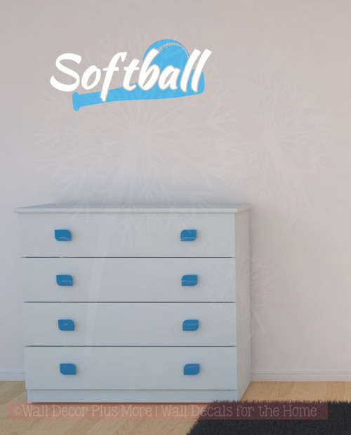 Softball with Bat Vinyl Lettering Art Wall Stickers Sports Decals Boys Bedroom Decor-White,Ice Blue