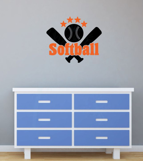 Softball with Bats Stars Teen Wall Sticker Decals Vinyl Lettering Art Sports Bedroom Decor-Orange,Black