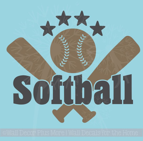 Softball with Bats Stars Teen Wall Sticker Decals Vinyl Lettering Art Sports Bedroom Decor
