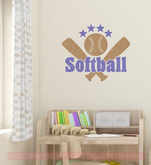 Softball With Bats Stars Teen Wall Sticker Decals Vinyl Lettering Art Sports Bedroom Decor