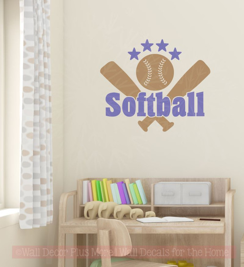 ... Softball With Bats Stars Teen Wall Sticker Decals Vinyl Lettering Art  Sports Bedroom Decor Tan ...