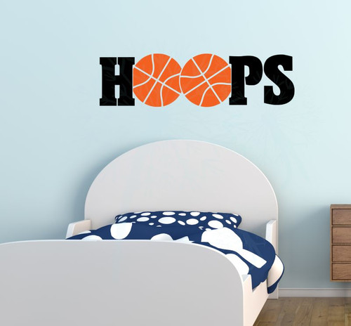HOOPS Basketball Vinyl Lettering Wall Sticker Art Teen Sports Decals Bedroom Decor-Black, Orange