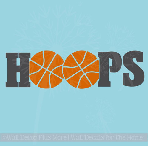HOOPS Basketball Vinyl Lettering Wall Sticker Art Teen Sports Decals Bedroom Decor