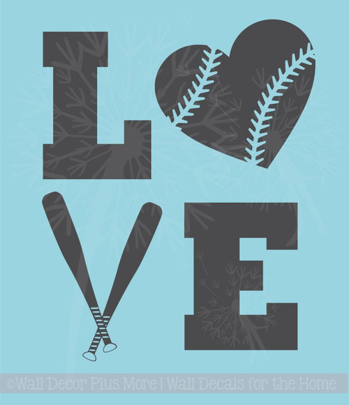 LOVE Softball Teen Vinyl Letters Art Wall Decals Stickers Girls Sports Bedroom Decor