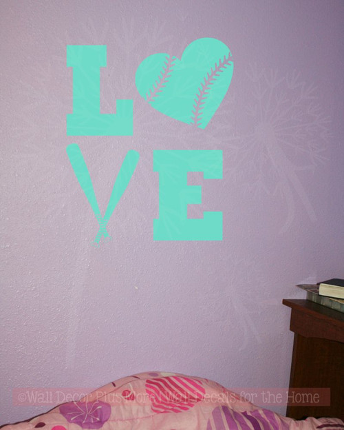 LOVE Softball Teen Vinyl Letters Art Wall Decals Stickers Girls Sports  Bedroom Decor