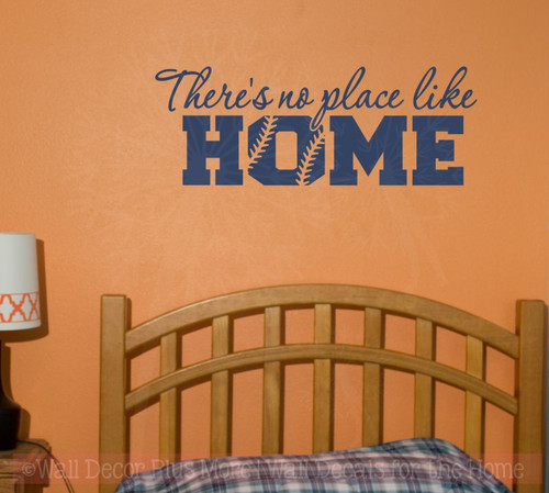 No Place Like Home Softball Sports Decals Wall Sticker Vinyl Lettering Art Bedroom Decor-Deep Blue