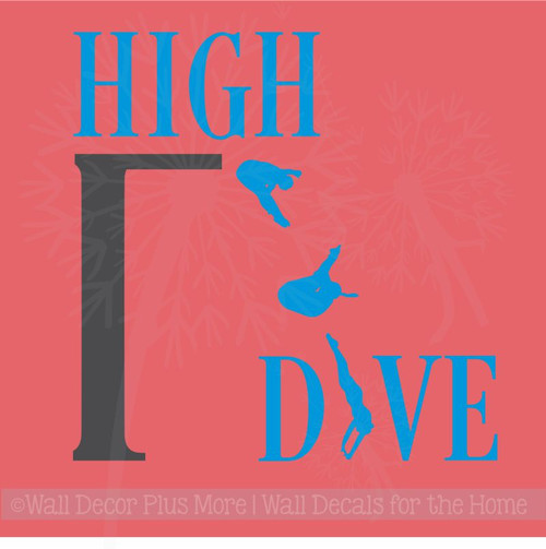 High Dive Vinyl Lettering Art Wall Decals Stickers Swimming Girls Room Decor