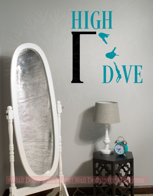 High Dive Vinyl Lettering Art Wall Decals Stickers Swimming Girls Room Decor-Teal, Black