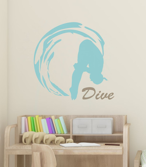 Girl Dive Swimming Wall Sticker Art Vinyl Decals Olympic Girl Bedroom Decor-Beach House, Tumbleweed