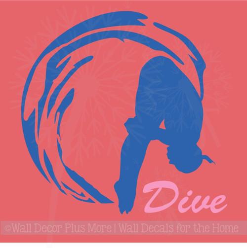 Girl Dive Swimming Wall Sticker Art Vinyl Decals Olympic Girl Bedroom Decor
