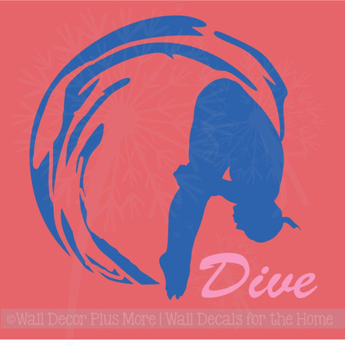 Girl Dive Swimming Wall Sticker Art Vinyl Decals Olympic Girl Bedroom Decor