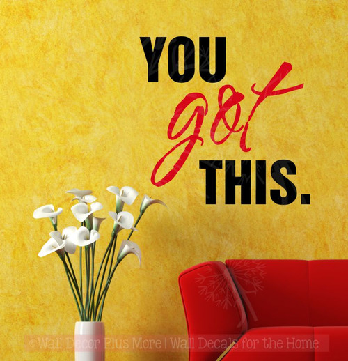 You Got This Inspirational Wall Art Stickers Vinyl Letters Decals Home Decor Quote-Black, Cherry Red