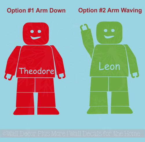 Blocks Guy Boy Wall Sticker Vinyl Decals Personalized Bedroom Decor Shape