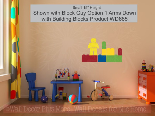 Blocks Guy Boy Wall Sticker Vinyl Decals Personalized Bedroom Decor