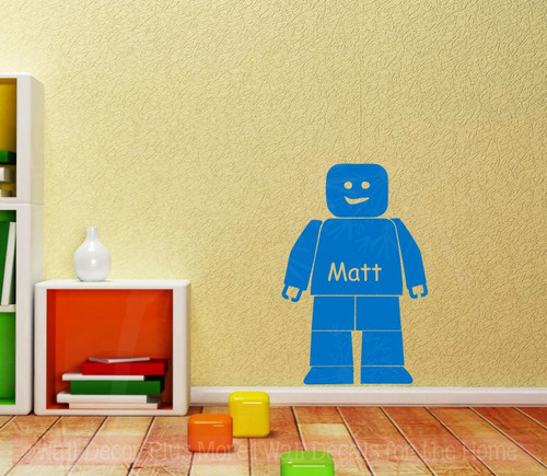 Blocks Guy Boy Wall Sticker Vinyl Decals Personalized Bedroom Decor Shape-Traffic Blue  Option 1