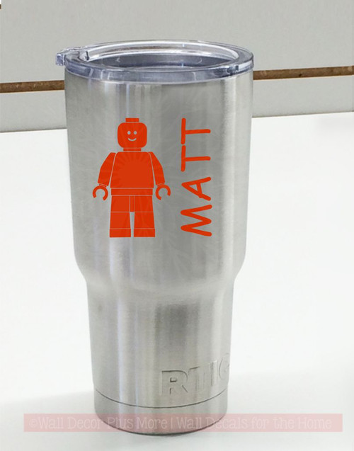 Building Block Guy with Name Tumbler Vinyl Decals Personalized RTIC or Yeti Stickers