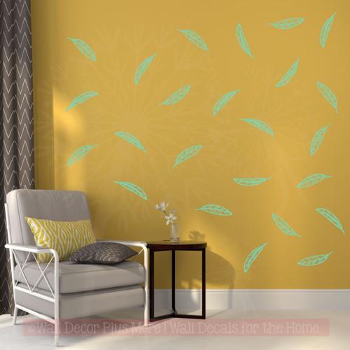 Open Feathers Wall Art Stickers Vinyl Decals Girl Bedroom Shape Decor