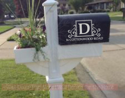 Monogram Vinyl Decals Mailbox Stickers Custom Initial Address Art