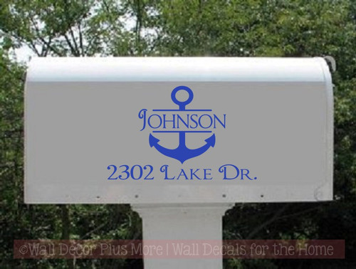 Mailbox Decals Lettering Name Address Personalized Vinyl Anchor Nautical Sticker Art, Set of 2