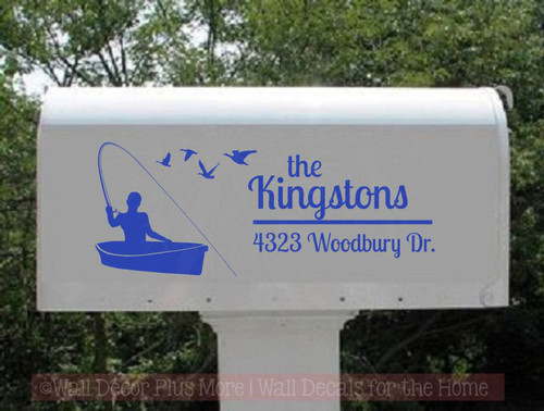 Personalized Fisherman Mailbox Letters Fishing Boat Name Address Vinyl Stickers