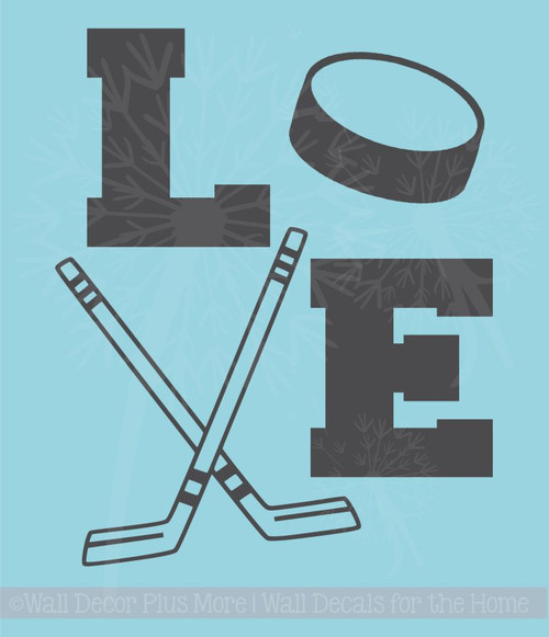 LOVE Hockey Sports Vinyl Letter Decals Wall Stickers Boys Room Decor Art