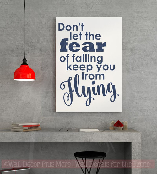 Don't Let Fear Keep You From Flying Vinyl Lettering Stickers Inspirational Wall Decals Quote-Deep Blue