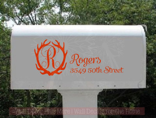 Antler Monogram with Name Address Vinyl Decals Art Personalized Mailbox Stickers