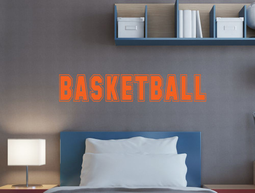 Basketball Lettering Wall Art Stickers Vinyl Decals, Boys Room Decor-Orange