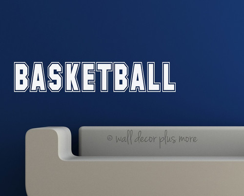 Basketball Lettering Wall Art Stickers Vinyl Decals, Boys Room Decor-White