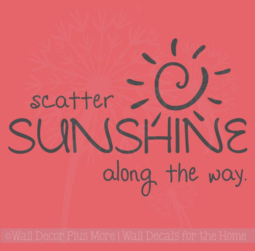 Scatter Sunshine Along the Way Inspirational Wall Art Decals Vinyl Lettering Stickers Home Decor Quote