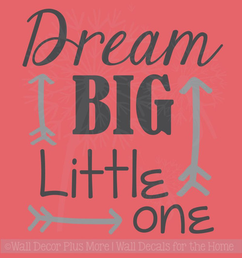 Dream Big Little One Nursery Vinyl Lettering Stickers Wall Decals Baby Room Decor