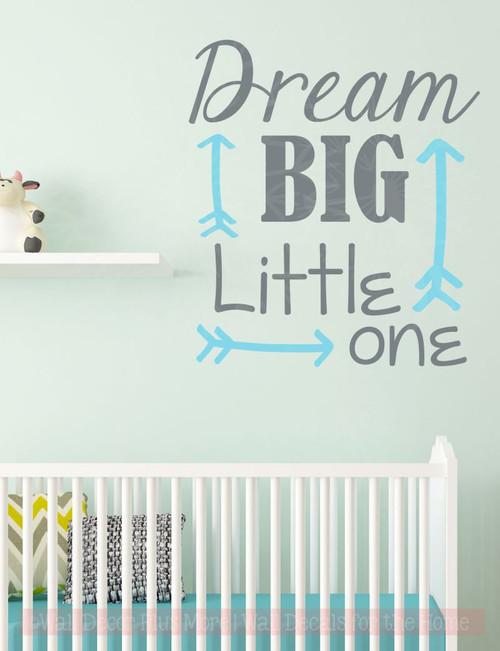Dream Big Little One Nursery Vinyl Lettering Stickers Wall Decals Baby Room Decor- Storm Gray, Geyser Blue