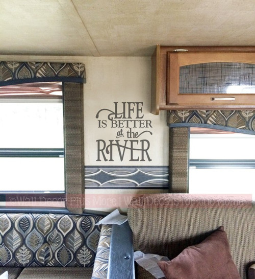 OPTION 2 Life Is Better At The River Summer Vinyl Letters Decals Wall Stickers Camper Decor Quote-Castle Gray