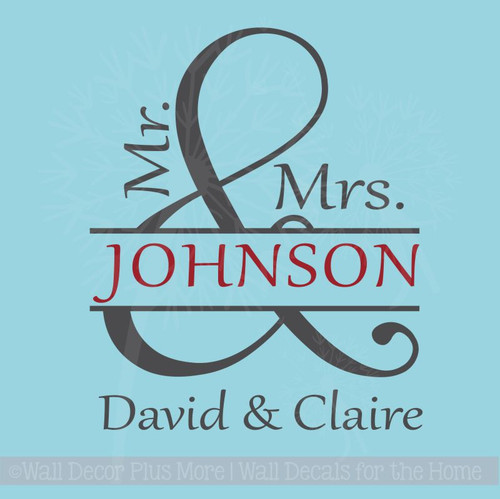 Mr and Mrs Personalized Vinyl Lettering Art Wall Decals Stickers Wedding Decor Gift
