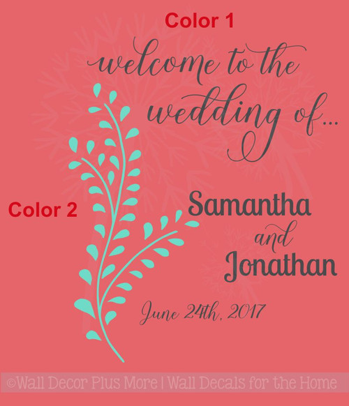 Welcome to the Wedding of Personalized Wall Decals Vinyl Lettering Sticker Art Wed Reception Decor-2 color package