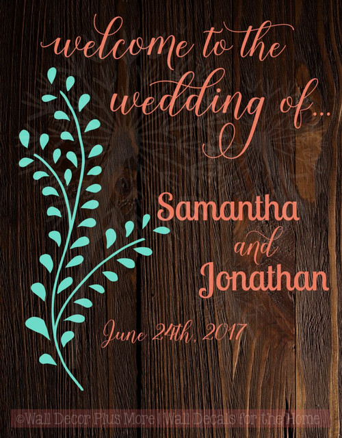 Welcome to the Wedding of Personalized Wall Decals Vinyl Lettering Sticker Art Wed Reception Decor-Coral, Mint Green