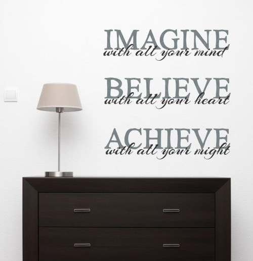Imagine Believe Achieve Inspirational Vinyl Lettering Decals Wall Sticker Art School Decor Quote-Storm Gray, Black