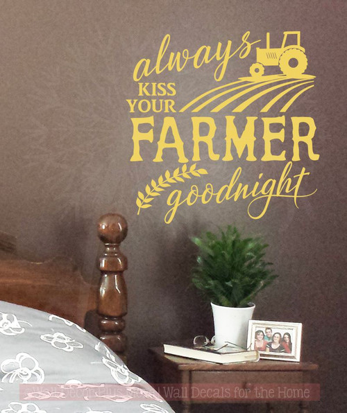 Kiss Your Farmer Goodnight Vinyl Lettering Art Wall Sticker Decals for Master Bedroom Decor Quote-Buttercream
