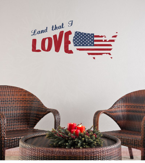 Land That I Love USA Wall Decals Vinyl Lettering Stickers Patriotic Home Decor Quote-Deep Blue, Red