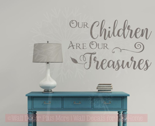Children Are Our Treasures Vinyl Lettering Stickers Wall Decals Family Home Decor Quote-Castle Gray