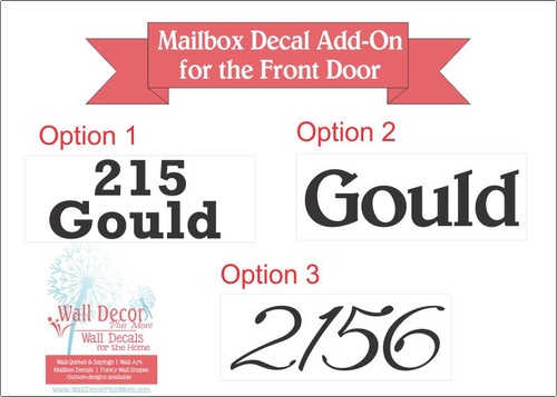 Mailbox Decal Add-On for Front Door Address Vinyl Stickers
