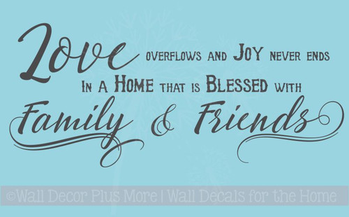 Love Overflows Joy Never Ends Family Home Vinyl Lettering Art Wall Decals Stickers Home Decor Quote