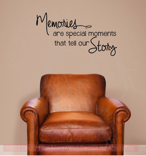 Memories Tell Our Story Family Wall Decals Vinyl Lettering Stickers  Home Decor Quote-Black