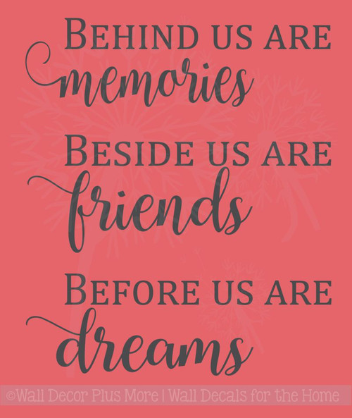Memories, Friends, Dreams Vinyl Lettering Art Family Wall Sticker Decals Kitchen Home Decor