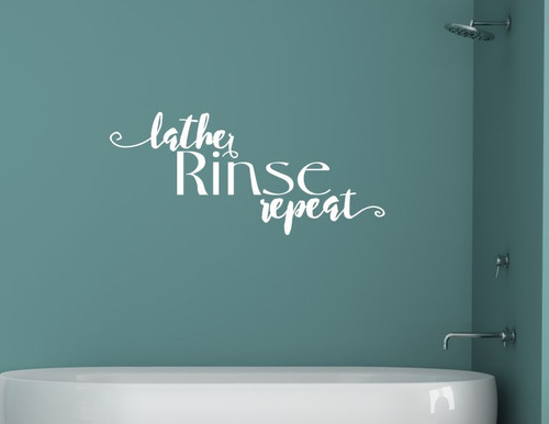 Lather Rinse Repeat Bathroom Vinyl Lettering Art Wall Decals