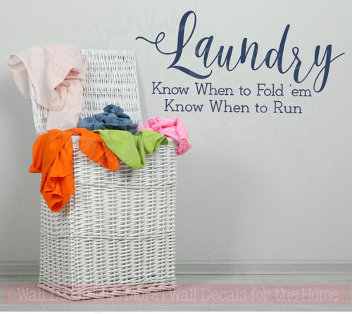 Laundry, Fold or Run Wall Stickers Decals Vinyl Lettering Art Home Decor Quote-Deep Blue
