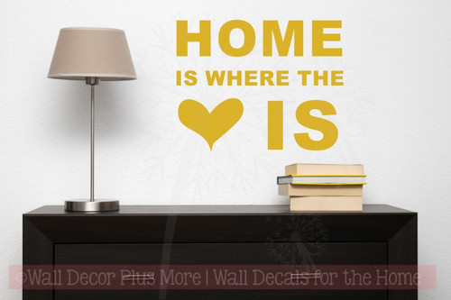 Home Is Where Heart Is Wall Sticker Decals Vinyl Lettering Art Entry Quote-Mustard